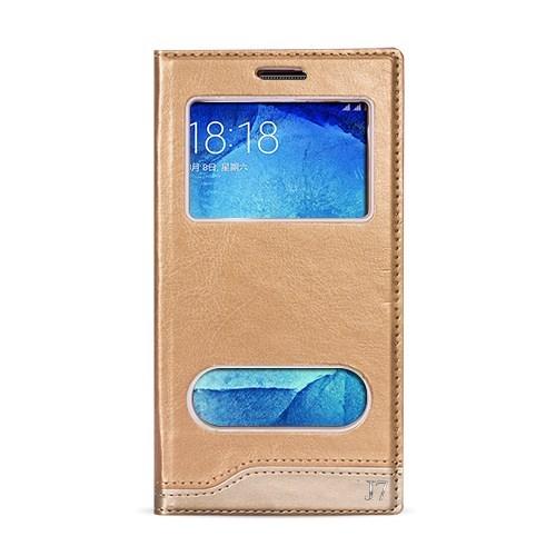 Volpawer Samsung Galaxy J7 Gizli Mıknatıslı Pencereli Kılıf Gold