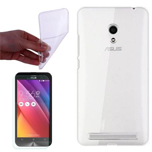 Cep Market Asus Zenfone 5 Lite A502cg Kılıf 0.2Mm Şeffaf Silikon + Kırılmaz Cam