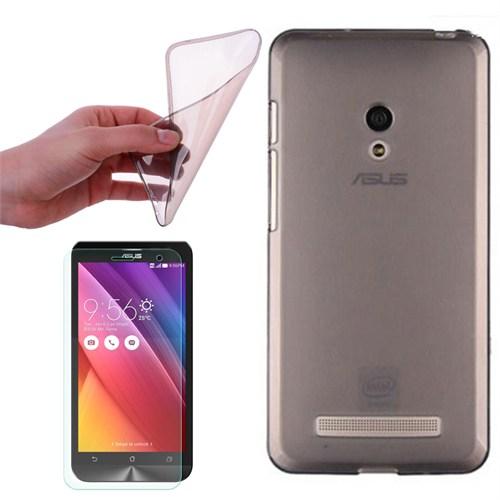 Cep Market Asus Zenfone 5 Lite A502cg Kılıf 0.2Mm Antrasit Silikon + Kırılmaz Cam