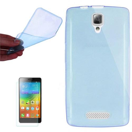 Cep Market Lenovo A1000 Kılıf 0.2Mm Mavi Silikon + Kırılmaz Cam