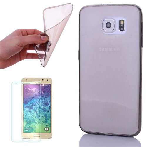Cep Market Samsung Galaxy Alpha Kılıf 0.2Mm Antrasit Silikon + Kırılmaz Cam