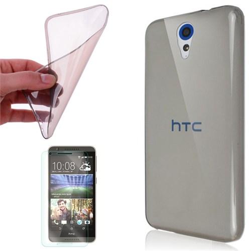 Cep Market Htc Desire 620 Kılıf 0.2Mm Antrasit Silikon + Kırılmaz Cam