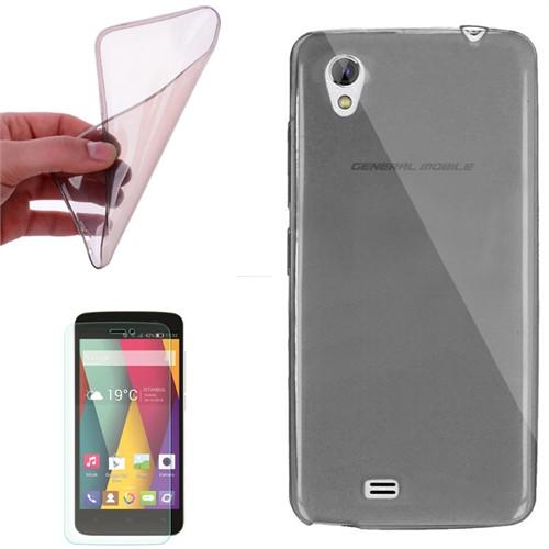 Cep Market General Mobile Discovery 2 Mini Kılıf 0.2Mm Antrasit Silikon + Kırılmaz Cam