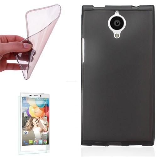 Cep Market General Mobile Discovery Elite Kılıf 0.2Mm Antrasit Silikon + Kırılmaz Cam