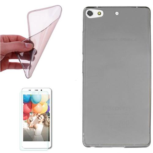 Cep Market General Mobile Discovery Elit Plus Kılıf 0.2Mm Antrasit Silikon + Kırılmaz Cam