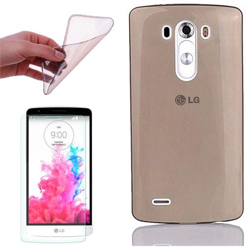 Cep Market Lg G3 Stylus Kılıf 0.3Mm Antrasit Silikon + Kırılmaz Cam
