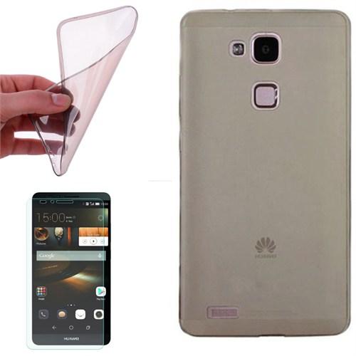 Cep Market Huawei Ascend Mate 7 Kılıf 0.2Mm Antrasit Silikon + Kırılmaz Cam