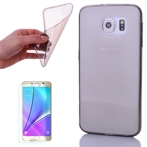 Cep Market Samsung Galaxy Note 5 Kılıf 0.2Mm Antrasit Silikon + Kırılmaz Cam