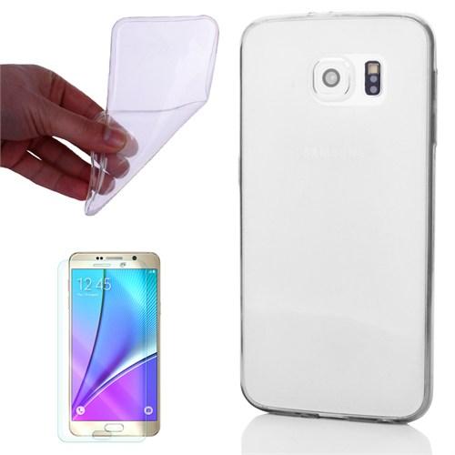 Cep Market Samsung Galaxy Note 5 Kılıf 0.2Mm Şeffaf Silikon + Kırılmaz Cam