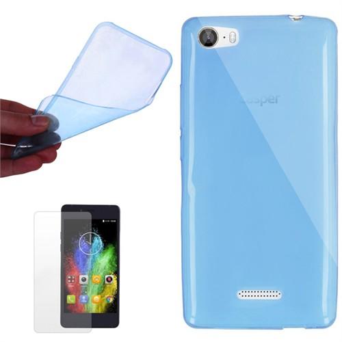 Cep Market Casper Via M1 Kılıf 0.2Mm Mavi Silikon + Kırılmaz Cam