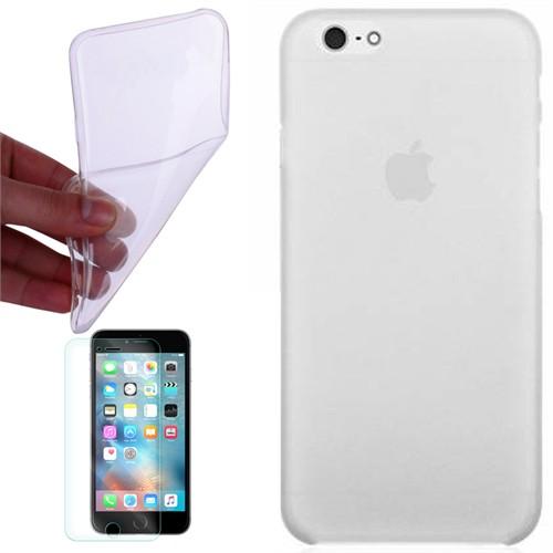 Cep Market Apple İphone 6 Plus Kılıf 0.2Mm Şeffaf Silikon + Kırılmaz Cam