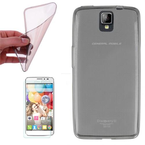 Cep Market General Mobile Discovery 2 Kılıf 0.2Mm Antrasit Silikon + Kırılmaz Cam
