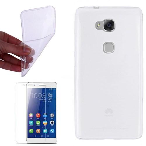 Cep Market Huawei Honor 7 Kılıf 0.2Mm Şeffaf Silikon + Kırılmaz Cam