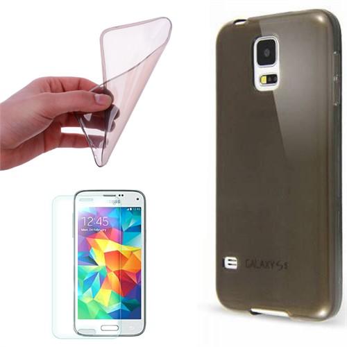 Cep Market Samsung Galaxy S5 Mini Kılıf 0.2Mm Antrasit Silikon + Kırılmaz Cam