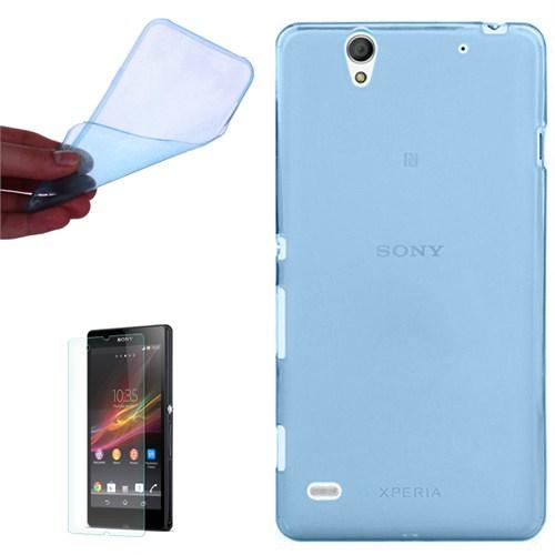 Cep Market Sony Xperia Z Kılıf 0.2Mm Mavi Silikon + Kırılmaz Cam