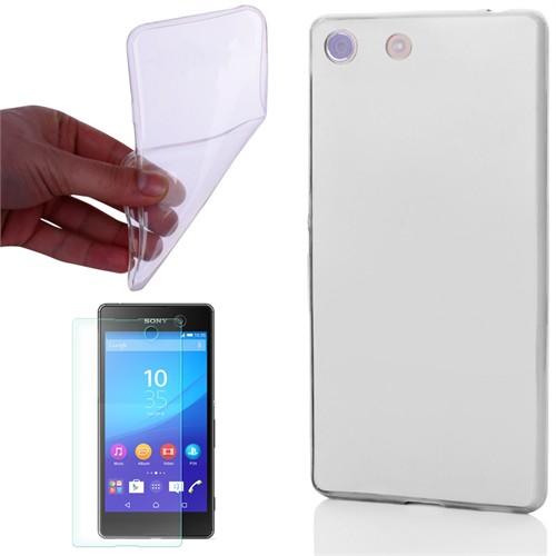 Cep Market Sony Xperia Z3 Compact Kılıf 0.2Mm Şeffaf Silikon + Kırılmaz Cam