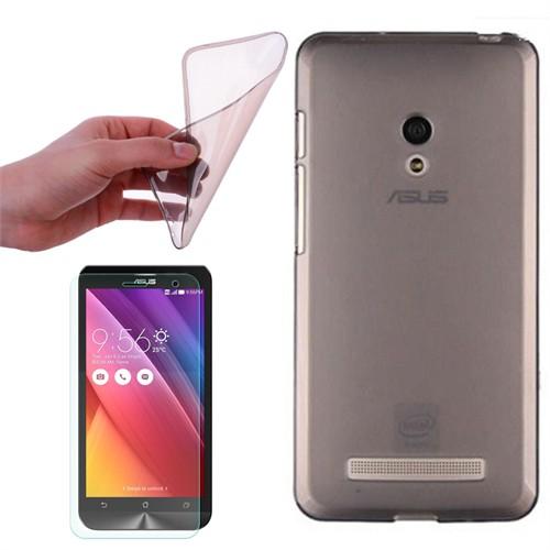Cep Market Asus Zenfone 6 Kılıf 0.2Mm Antrasit Silikon + Kırılmaz Cam