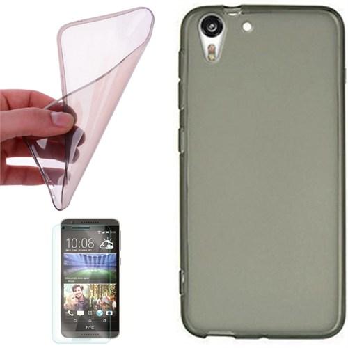 Cep Market Htc Desire 626 Kılıf 0.2Mm Antrasit Silikon + Kırılmaz Cam