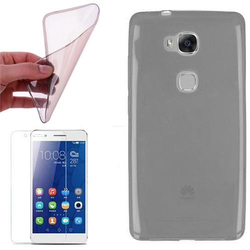 Cep Market Huawei Gr5 Kılıf 0.2Mm Antrasit Silikon + Kırılmaz Cam
