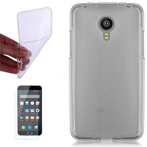 Cep Market Meizu Mx 5 Kılıf 0.2Mm Antrasit Silikon + Kırılmaz Cam