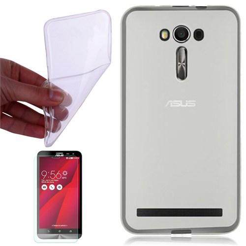 Cep Market Asus Zenfone Selfie Kılıf 0.2Mm Şeffaf Silikon + Kırılmaz Cam