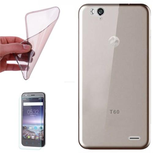 Cep Market Turkcell T60 Kılıf 0.2Mm Antrasit Silikon + Kırılmaz Cam