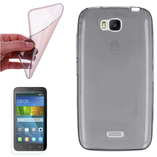 Cep Market Huawei Y5c Kılıf 0.2Mm Antrasit Silikon + Kırılmaz Cam