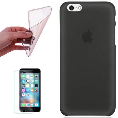 Cep Market Apple İphone 5S Kılıf 0.2Mm Antrasit Silikon + Kırılmaz Cam