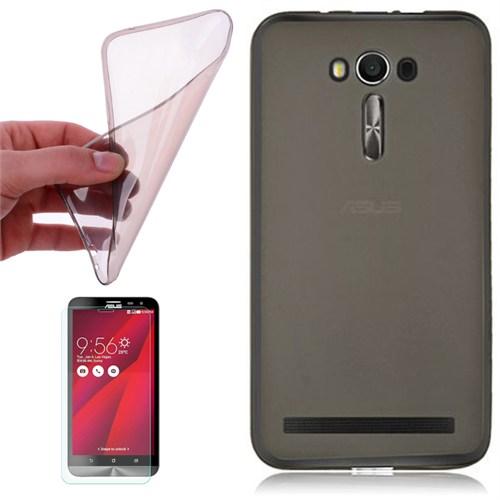 Cep Market Asus Zenfone 2 Laser 6.0 Kılıf 0.2Mm Antrasit Silikon + Kırılmaz Cam