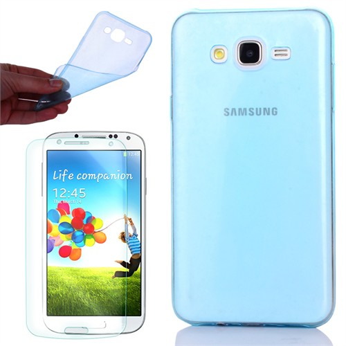 Cep Market Samsung Galaxy A7 Kılıf 0.2Mm Mavi Silikon + Kırılmaz Cam