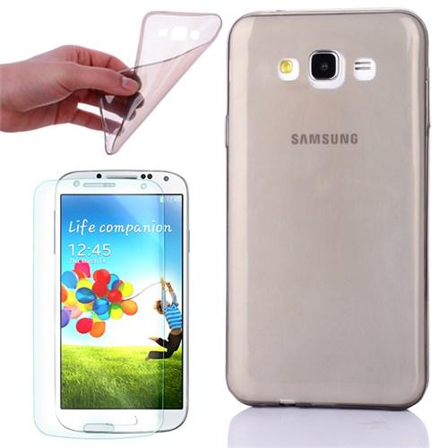 Cep Market Samsung Galaxy E5 Kılıf 0.2Mm Antrasit Silikon + Kırılmaz Cam