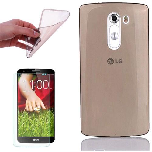 Cep Market Lg G2 Kılıf 0.2Mm Antrasit Silikon + Kırılmaz Cam