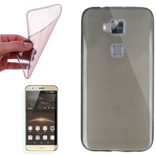 Cep Market Huawei G8 Kılıf 0.2Mm Antrasit Silikon + Kırılmaz Cam