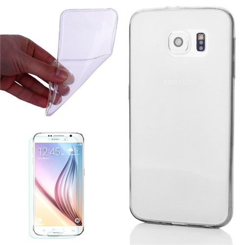 Cep Market Samsung Galaxy S6 Kılıf 0.2Mm Şeffaf Silikon + Kırılmaz Cam