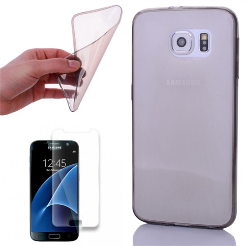 Cep Market Samsung Galaxy S7 Kılıf 0.2Mm Antrasit Silikon + Kırılmaz Cam