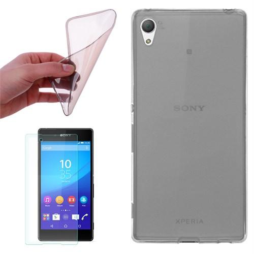 Cep Market Sony Xperia Z3 Plus / Z4 Kılıf 0.2Mm Antrasit Silikon + Kırılmaz Cam