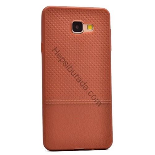 Case 4U Samsung A710 Galaxy A7 (2016) Matrix Desenli İnce Silikon Kılıf Kahverengi