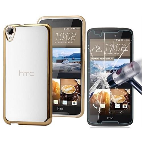 Kılıfshop Htc Desire 828 Lazer Silikon Kılıf + Kırılmaz Cam Ekran Koruyucu