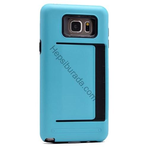 Case 4U Samsung Galaxy Note 5 Korumalı Sert Arka Kapak (Kart Cepli) Mavi