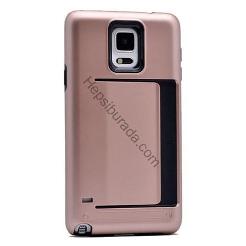 Case 4U Samsung Galaxy Note 3 Korumalı Sert Arka Kapak (Kart Cepli) Rose Gold
