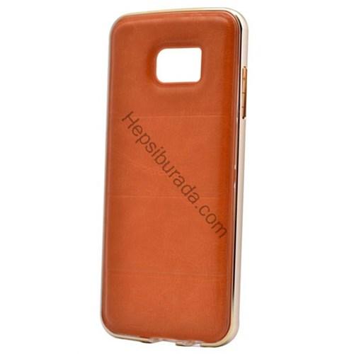 Case 4U Samsung A510 Galaxy A5 (2016) Deri Arka Kapak Metal Çerçeveli Kahverengi