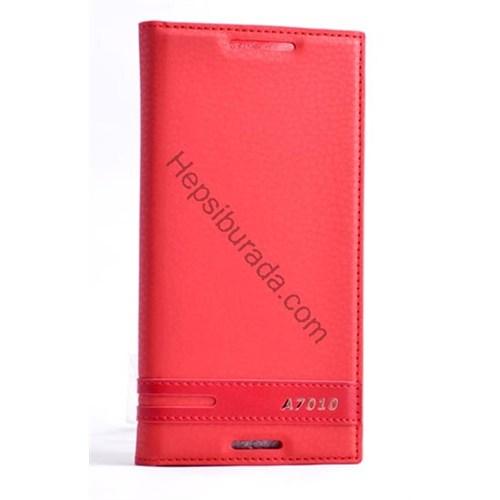 Case 4U Lenovo A7010 Gizli Mıknatıslı Kapaklı Kılıf Kırmızı