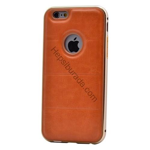 Case 4U Apple İphone 6 Plus Deri Arka Kapak Metal Çerçeveli Kahverengi