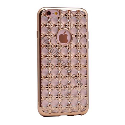 Case 4U Apple İphone 5S Kare Taşlı Parlak Silikon Kılıf Altın