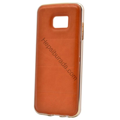 Case 4U Samsung Galaxy S7 Edge Deri Arka Kapak Metal Çerçeveli Kahverengi