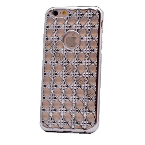 Case 4U Apple İphone 6S Plus Kare Taşlı Parlak Silikon Kılıf Gümüş