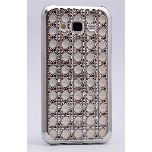 Case 4U Samsung Galaxy J5 Kare Taşlı Parlak Silikon Kılıf Gümüş