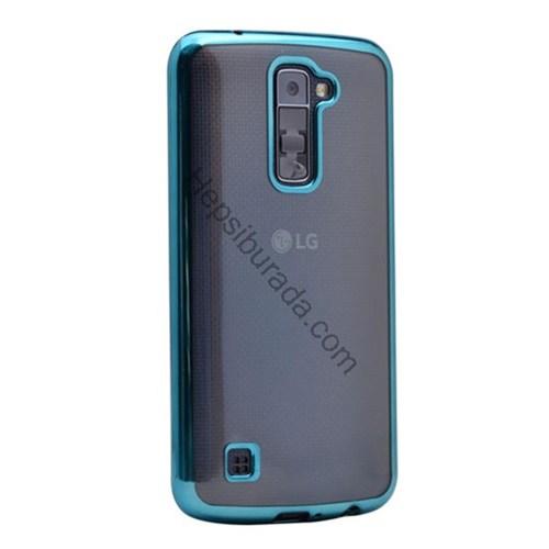 Case 4U Lg K10 Lazer Kaplamalı Şeffaf Silikon Kılıf Mavi