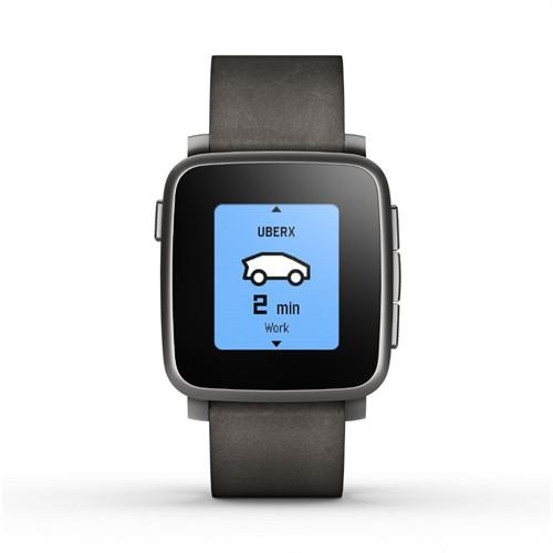 Pebble Time Steel Akıllı Saat Apple/Android Cihazlar Siyah
