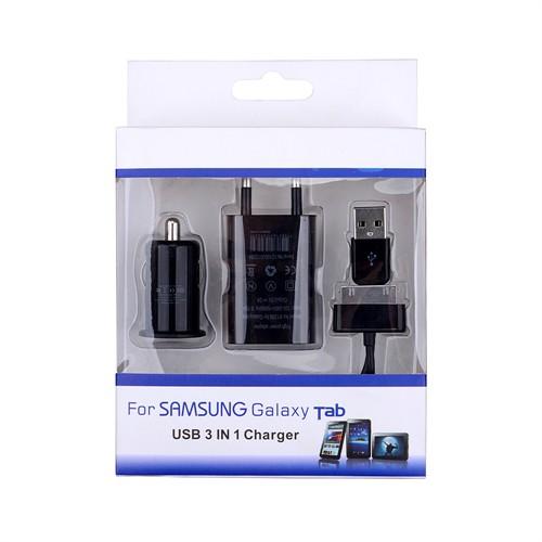 Ally Samsung Galaxy Tab 3İn1 Şarj Ve Senkronizasyon Kablo Şarj Ve Araç Şarj Başlık